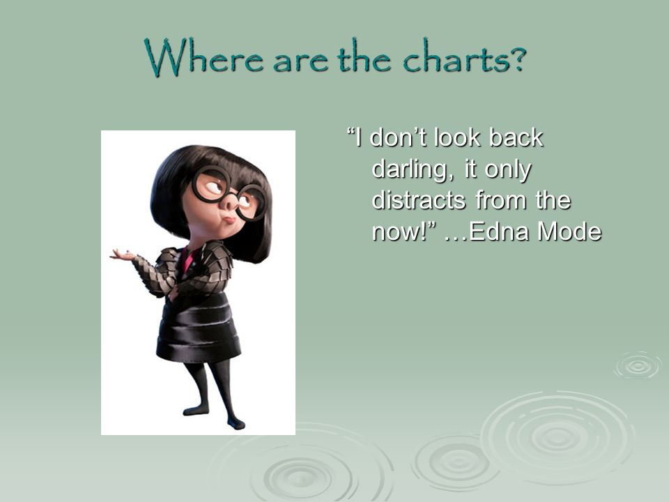 Where are the charts I don't look back darling, it only distracts from the now! …Edna Mode