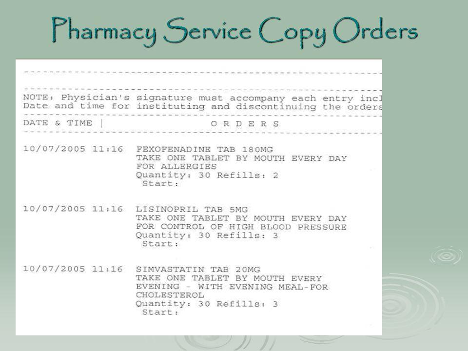 Pharmacy Service Copy Orders