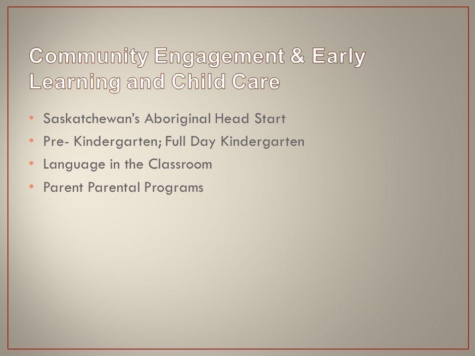 Saskatchewan's Aboriginal Head Start Pre- Kindergarten; Full Day Kindergarten Language in the Classroom Parent Parental Programs