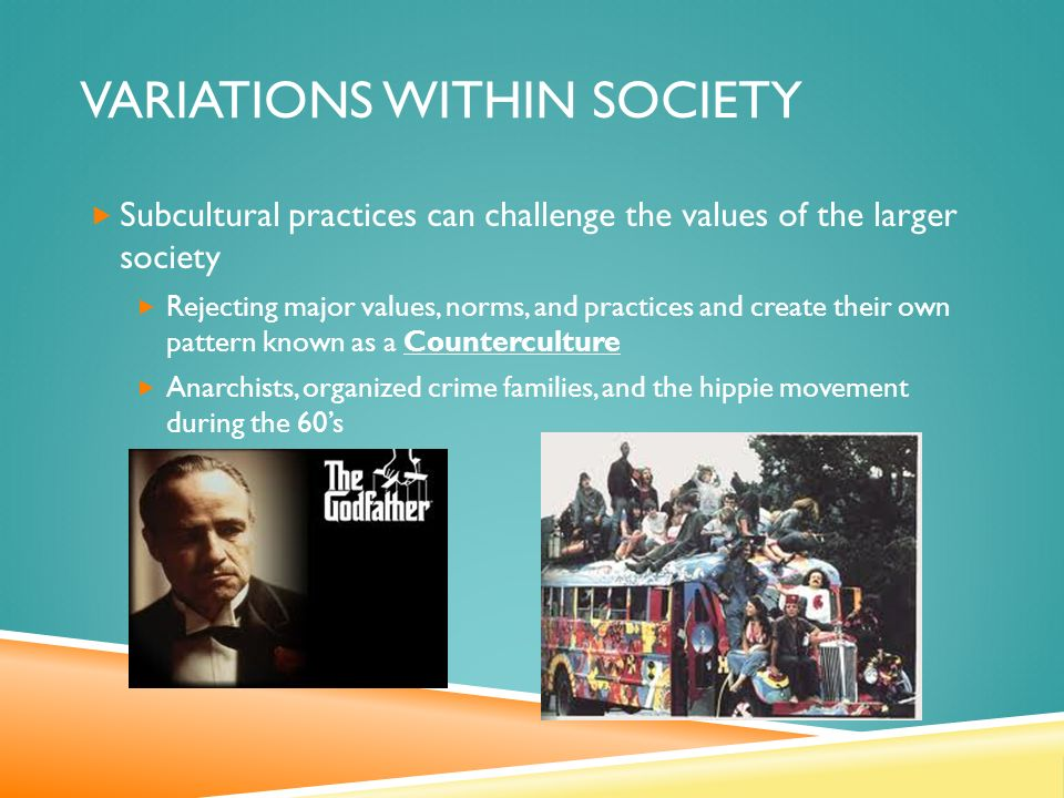 VARIATIONS WITHIN SOCIETY  Subcultural practices can challenge the values of the larger society  Rejecting major values, norms, and practices and create their own pattern known as a Counterculture  Anarchists, organized crime families, and the hippie movement during the 60's