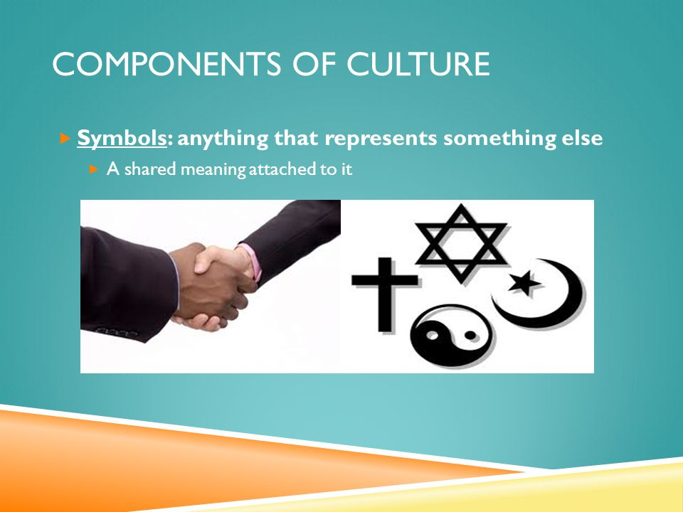COMPONENTS OF CULTURE  Symbols: anything that represents something else  A shared meaning attached to it