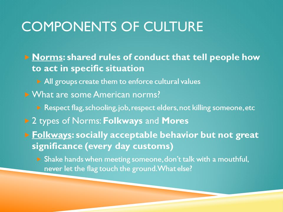 COMPONENTS OF CULTURE  Norms: shared rules of conduct that tell people how to act in specific situation  All groups create them to enforce cultural values  What are some American norms.