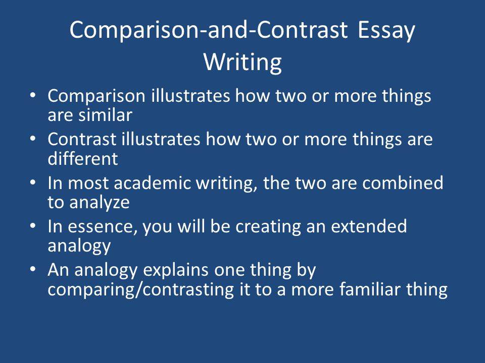 "compare and contrast the presentation 2 essay When hearing the words ""comparative analysis,"" students may feel uncomfortable however, all it's really asking you to do is compare and contrast two things, an action we perform every day."