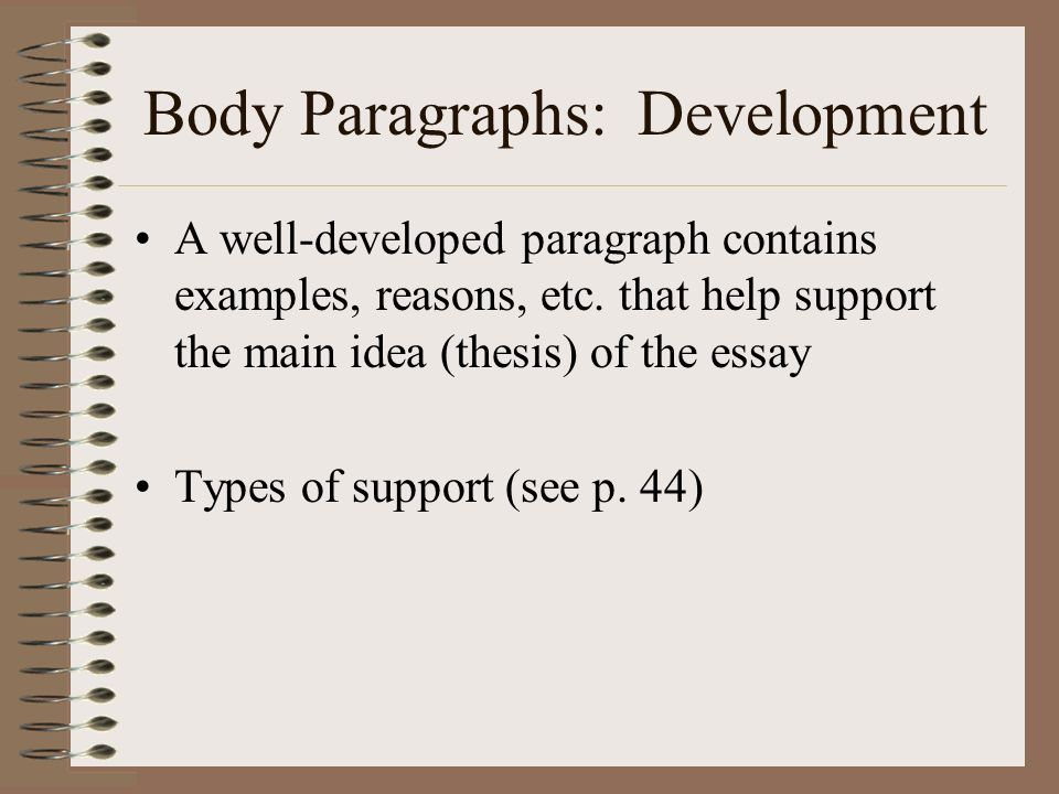 In an essay, how many examples should each body paragraph contain?