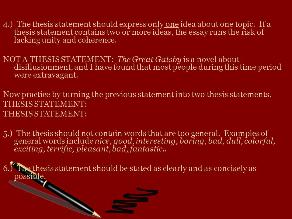 good great gatsby thesis statements Get an answer for 'what is a good thesis statement for the use of symbolism and motifs in relation to the american dream in the great gatsbyi need to write an essay of how f scott fitzgerald uses the devices of symbolism and motifs throughout the novel the great gatsby to connect symbols and motifs with the theme the american dream' and find.