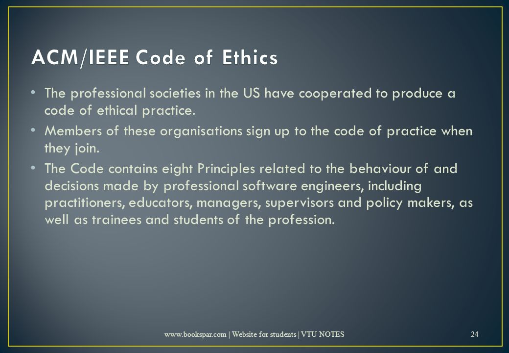 The professional societies in the US have cooperated to produce a code of ethical practice.