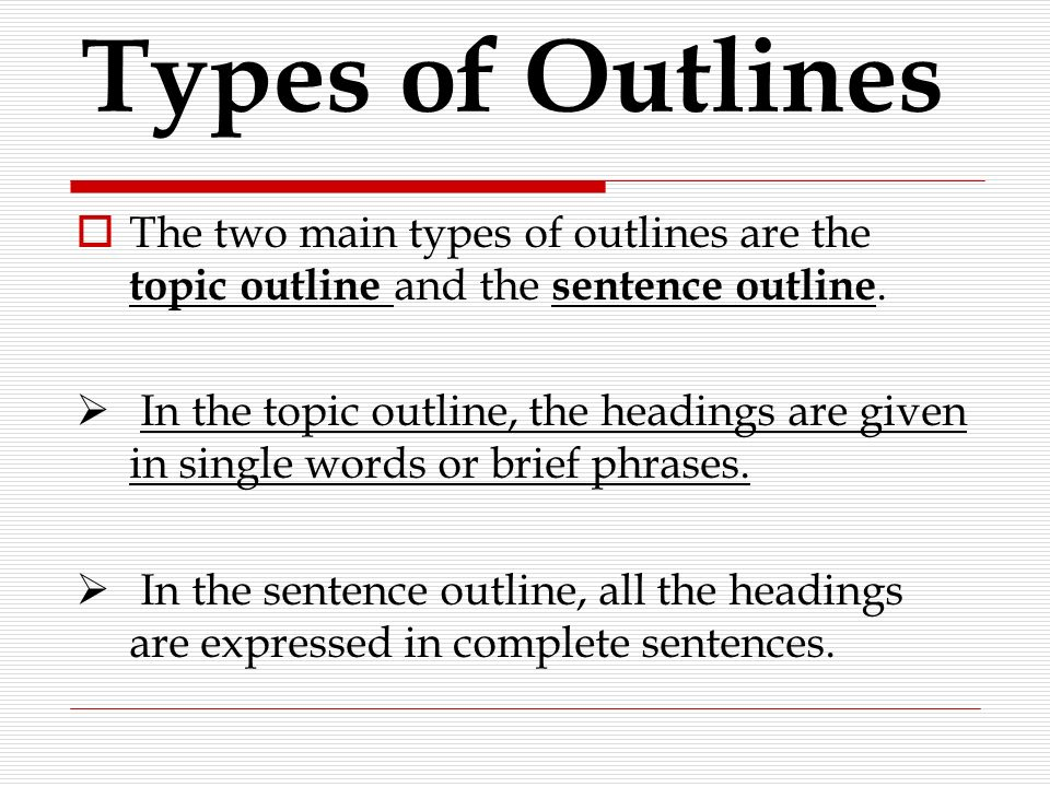 sentence outline format for research paper