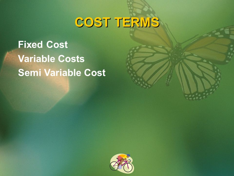 COST TERMS Fixed Cost Variable Costs Semi Variable Cost