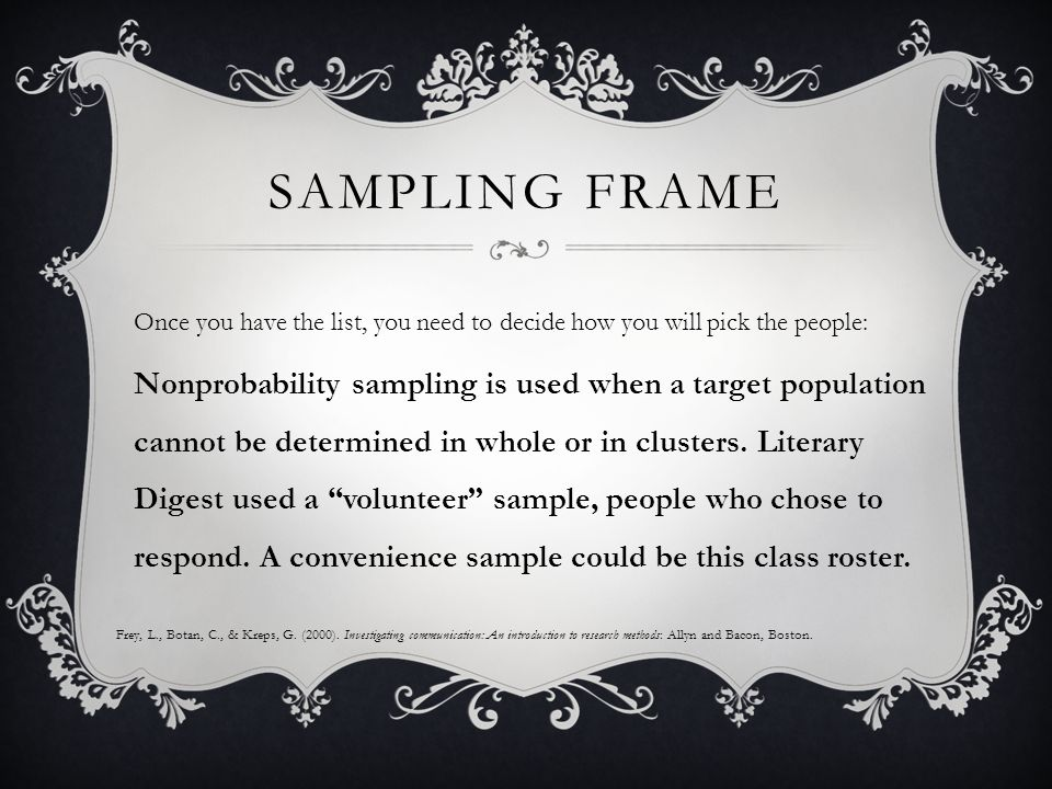 SAMPLING FRAME Once you have the list, you need to decide how you will pick the people: Nonprobability sampling is used when a target population cannot be determined in whole or in clusters.
