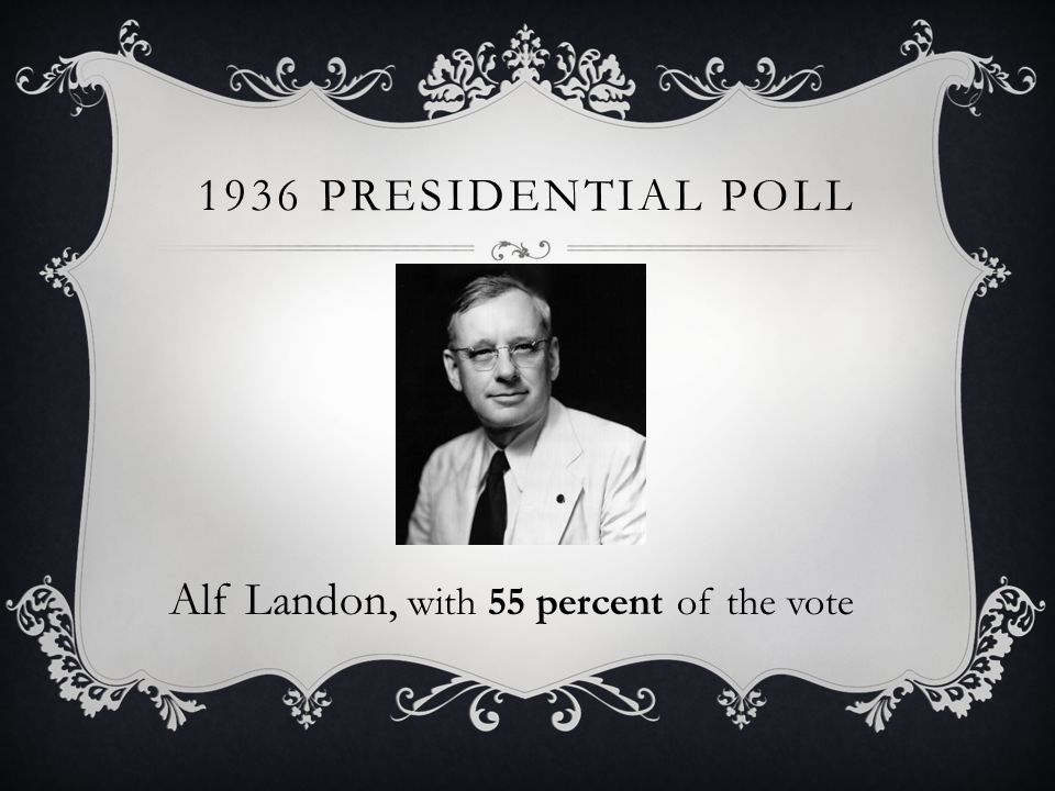 1936 PRESIDENTIAL POLL Alf Landon, with 55 percent of the vote