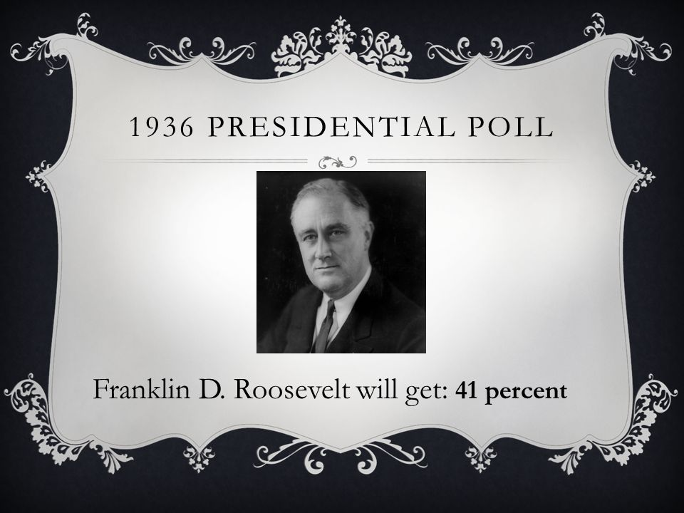1936 PRESIDENTIAL POLL Franklin D. Roosevelt will get: 41 percent