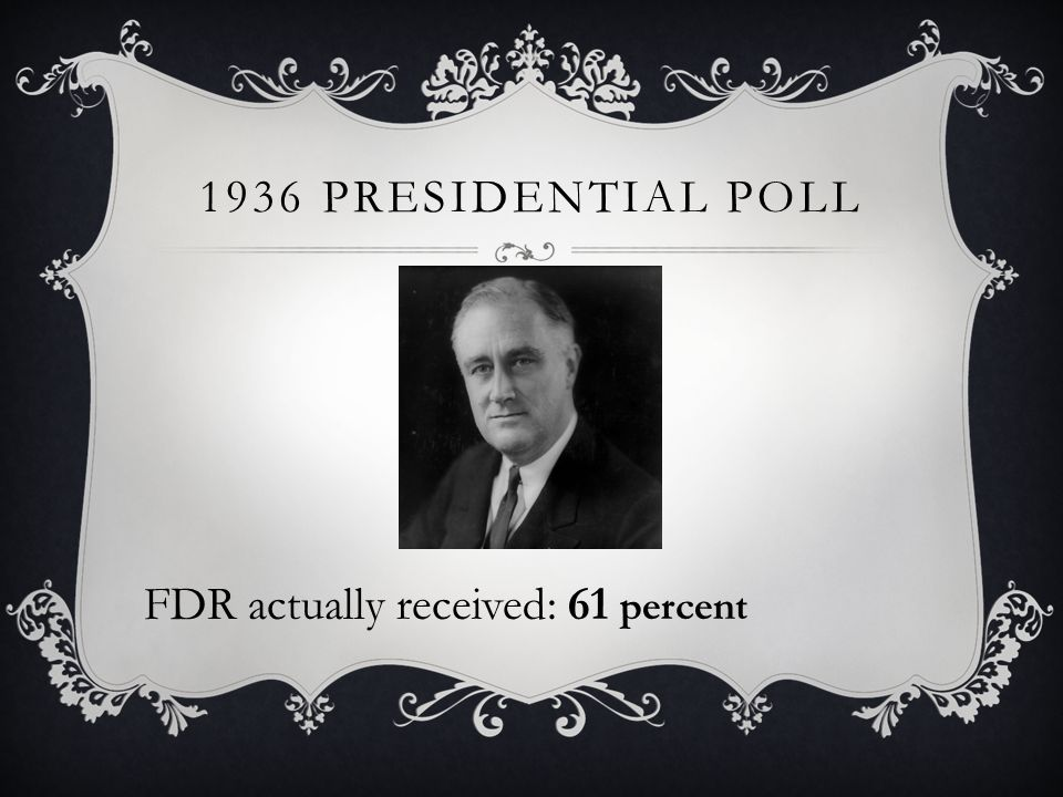 1936 PRESIDENTIAL POLL FDR actually received: 61 percent