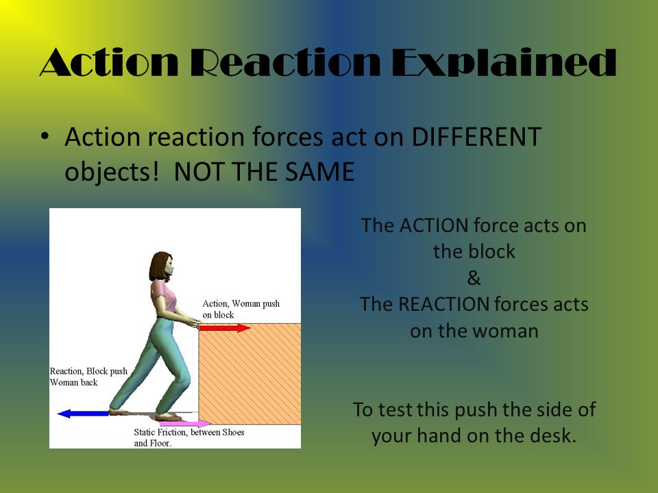 Action Reaction Explained Action reaction forces act on DIFFERENT objects.