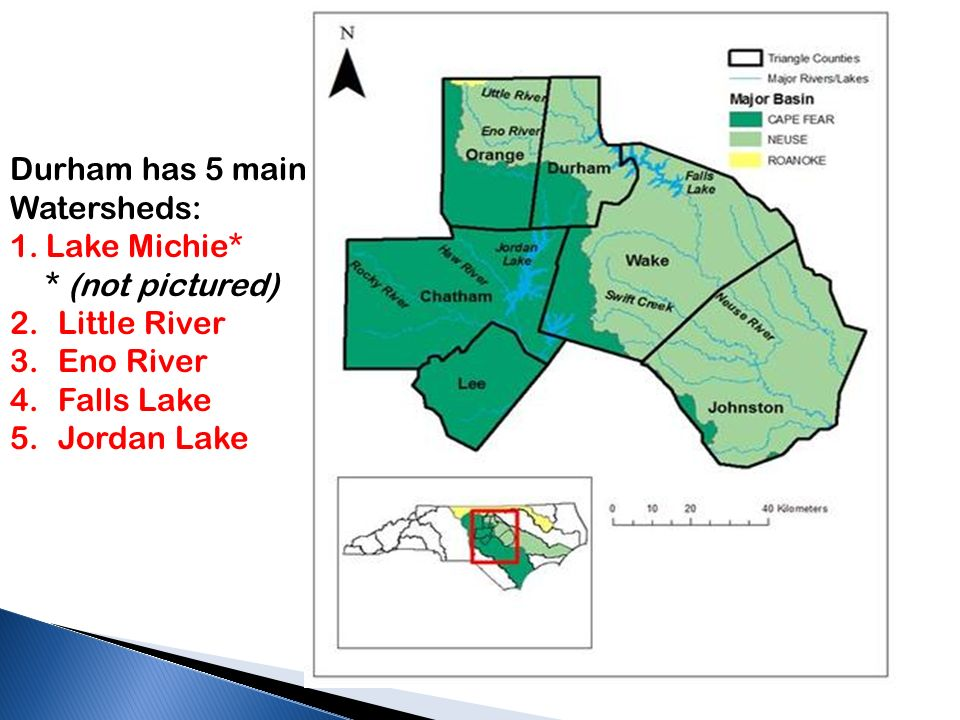 Durham has 5 main Watersheds: 1.Lake Michie* * (not pictured) 2.Little River 3.Eno River 4.Falls Lake 5.Jordan Lake