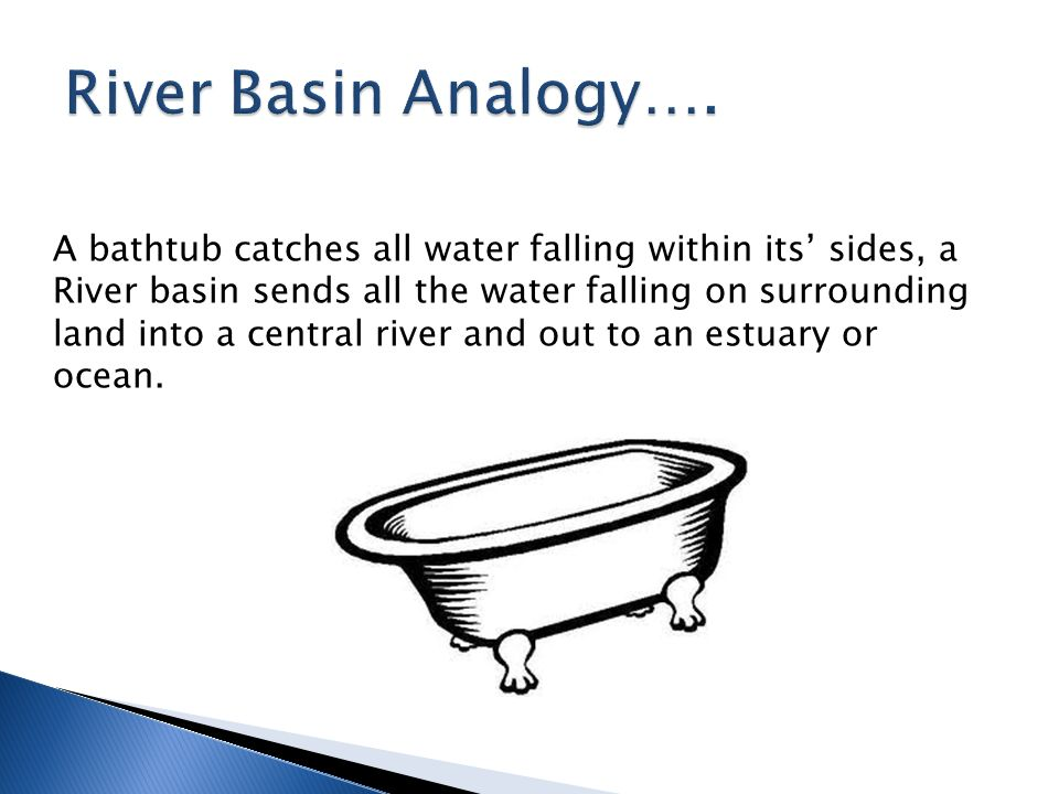 A bathtub catches all water falling within its' sides, a River basin sends all the water falling on surrounding land into a central river and out to an estuary or ocean.