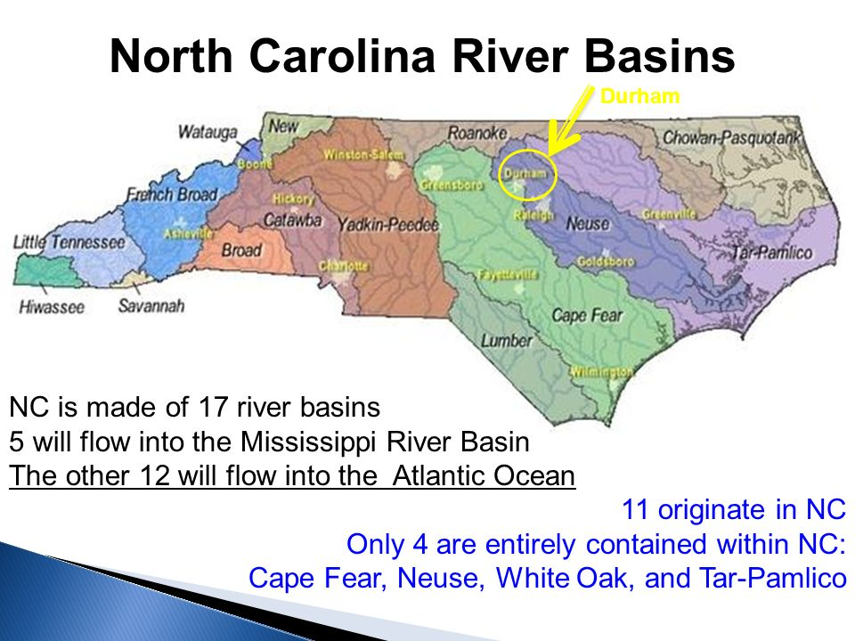 North Carolina River Basins NC is made of 17 river basins 5 will flow into the Mississippi River Basin The other 12 will flow into the Atlantic Ocean 11 originate in NC Only 4 are entirely contained within NC: Cape Fear, Neuse, White Oak, and Tar-Pamlico Durham