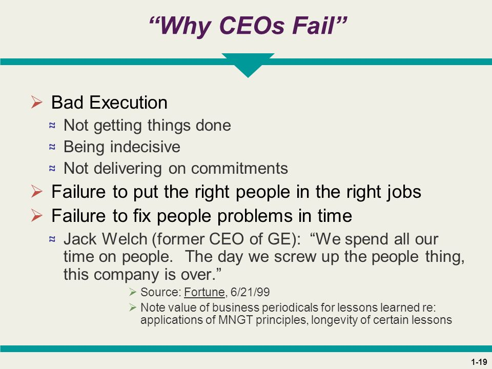 "1-19 ""Why CEOs Fail""  Bad Execution ≈ Not getting things done ≈ Being indecisive ≈ Not delivering on commitments  Failure to put the right people in"