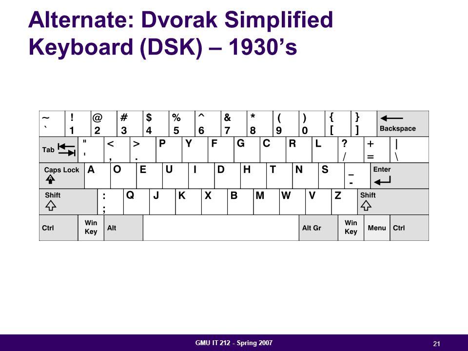 GMU IT 212 - Spring 2007 21 Alternate: Dvorak Simplified Keyboard (DSK) – 1930's