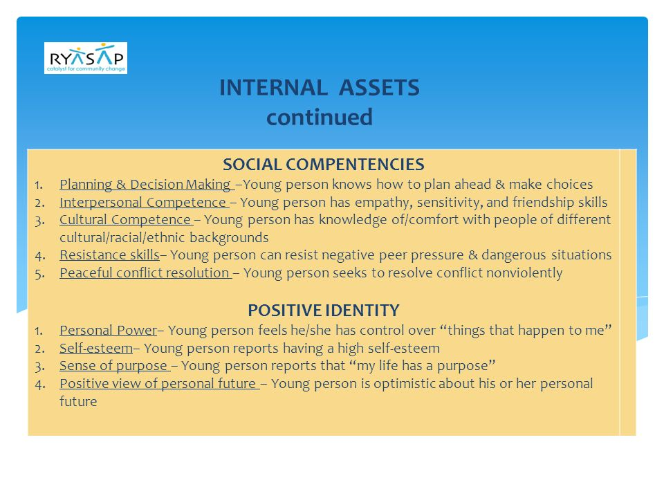 ASSUMPTIONS ABOUT ASSETS   Individuals do not need the entire range of assets to thrive.