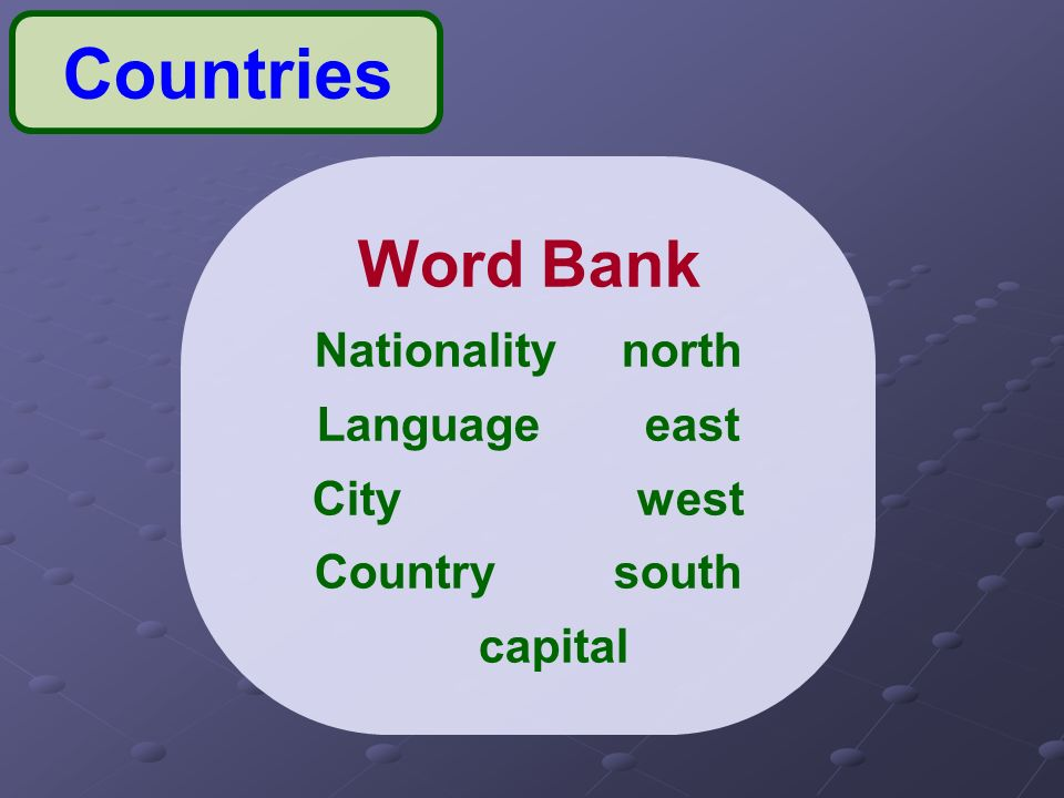 Lesson Unit Countries Name Three Countries You Would Like - Country name and capital city