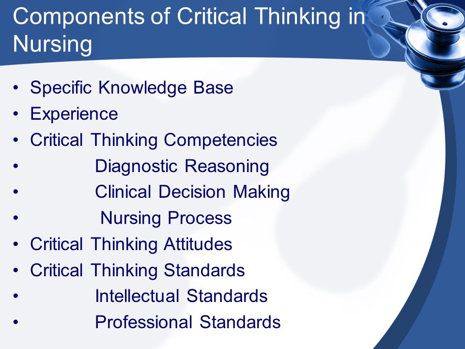 describe the components of a critical thinking model for clinical decision making