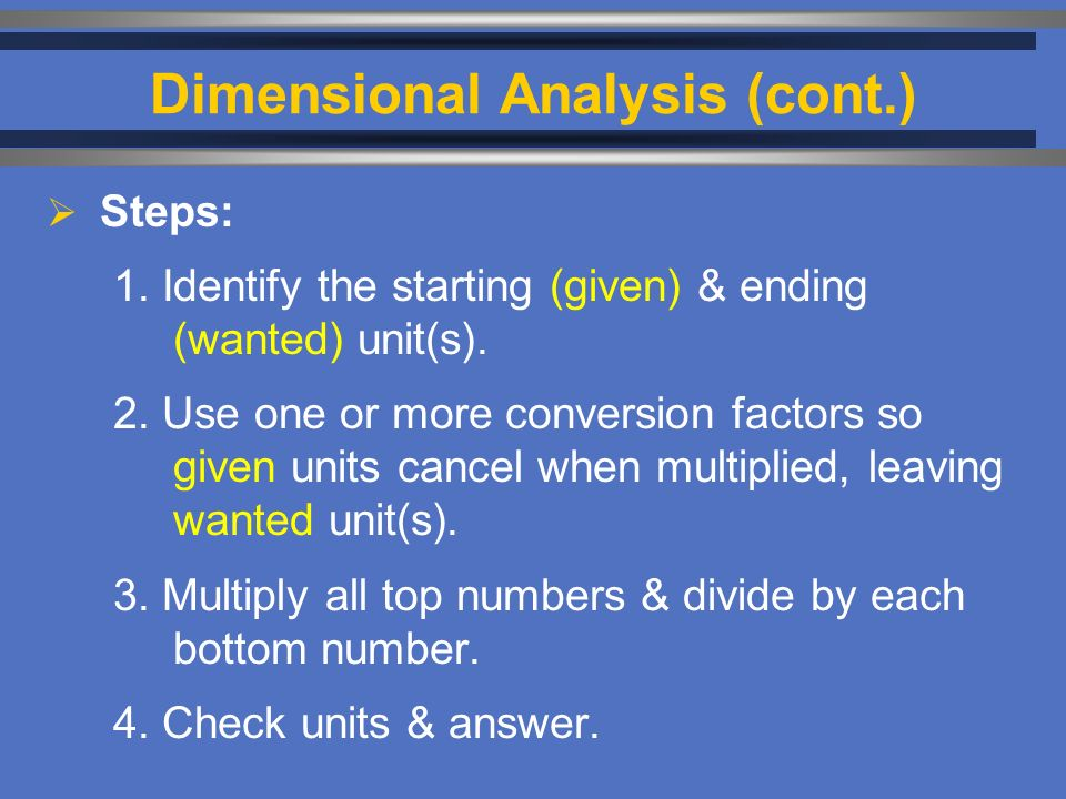  Steps: 1. Identify the starting (given) & ending (wanted) unit(s).