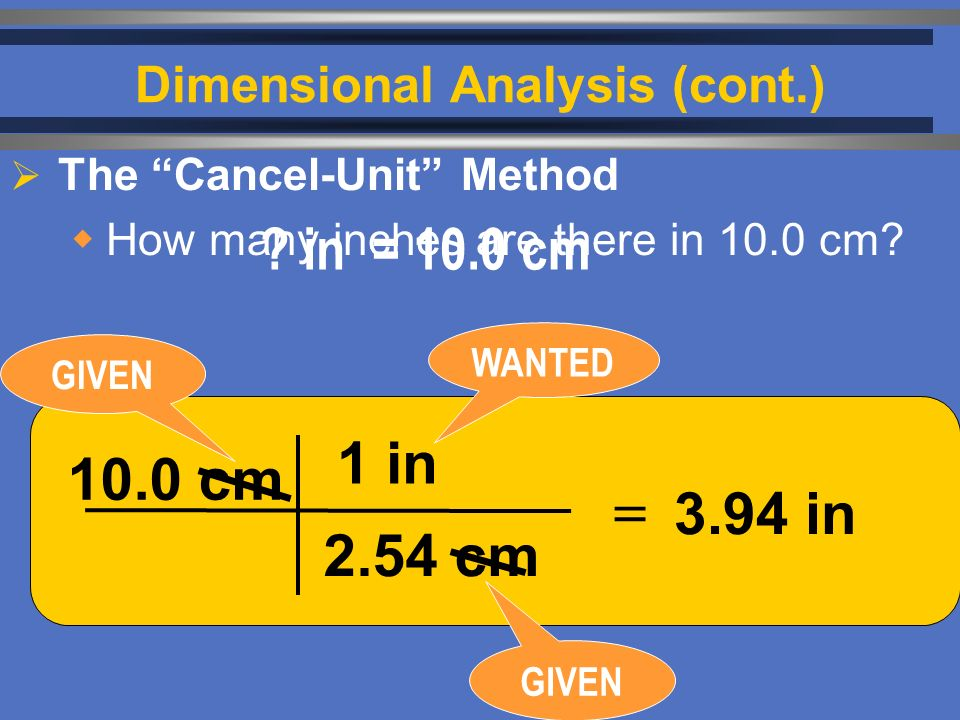  The Cancel-Unit Method  How many inches are there in 10.0 cm.