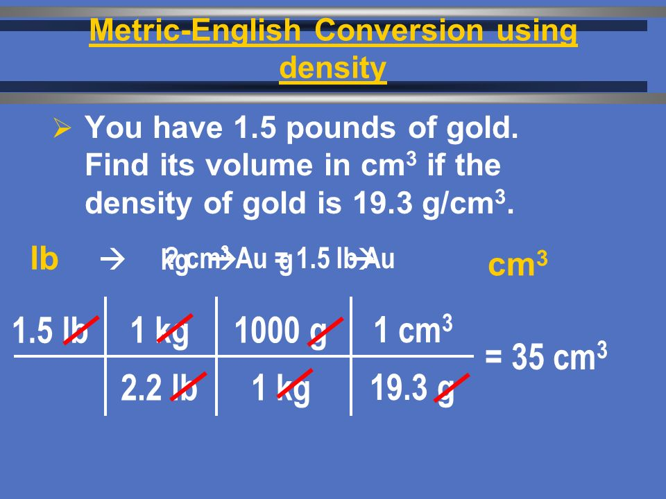 Metric-English Conversion using density  You have 1.5 pounds of gold.