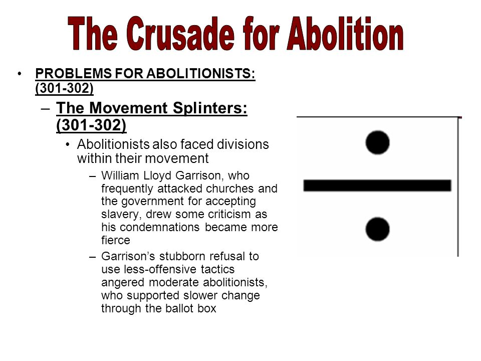 PROBLEMS FOR ABOLITIONISTS: ( ) –The Movement Splinters: ( ) Abolitionists also faced divisions within their movement –William Lloyd Garrison, who frequently attacked churches and the government for accepting slavery, drew some criticism as his condemnations became more fierce –Garrison's stubborn refusal to use less-offensive tactics angered moderate abolitionists, who supported slower change through the ballot box