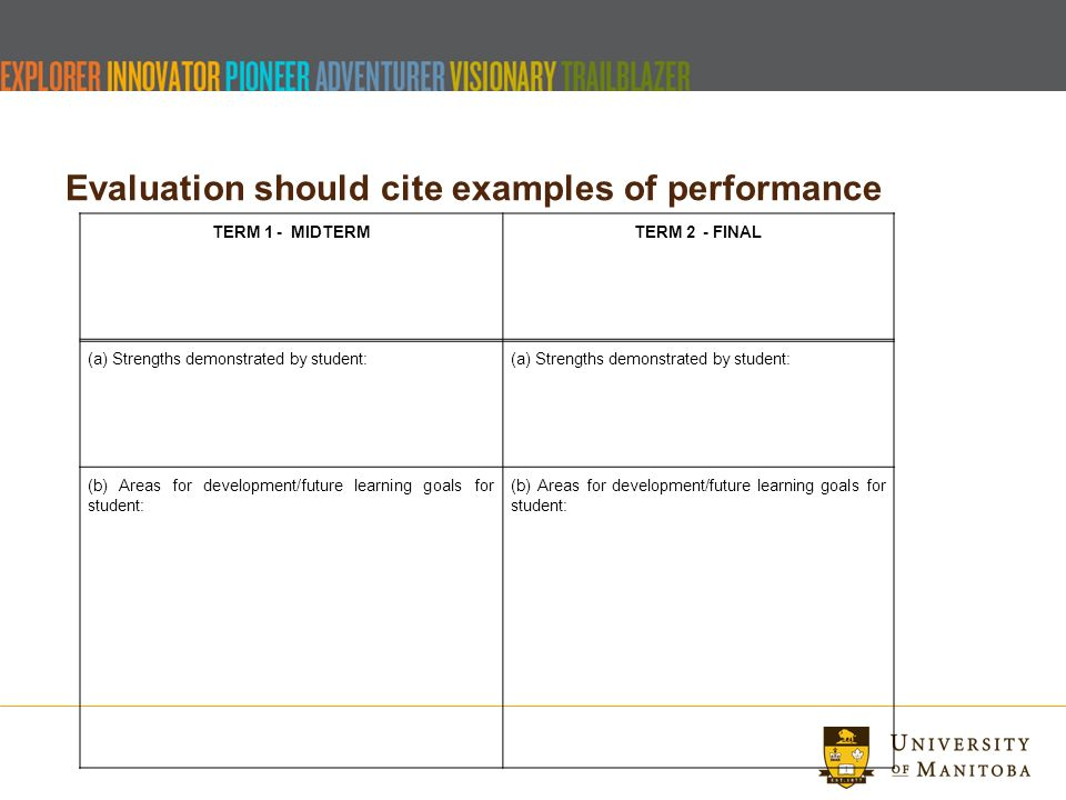 Title Of Presentation Umanitoba Welcome Final Evaluations Ppt