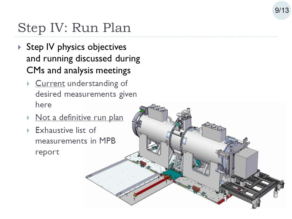 Step IV: Run Plan  Step IV physics objectives and running discussed during CMs and analysis meetings  Current understanding of desired measurements given here  Not a definitive run plan  Exhaustive list of measurements in MPB report 9/13