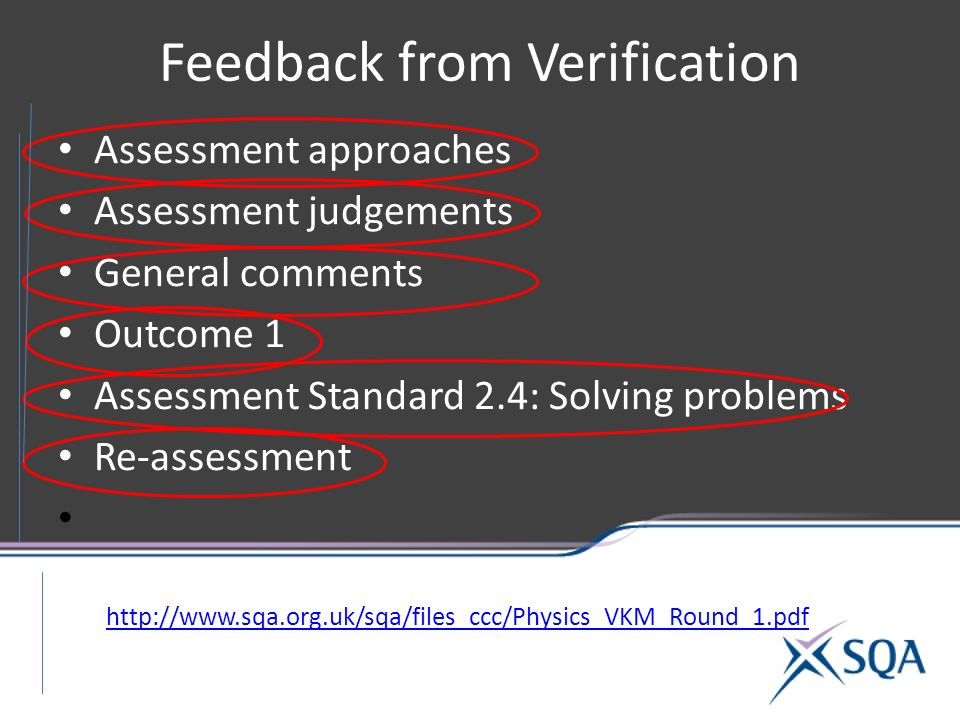 Feedback from Verification Assessment approaches Assessment judgements General comments Outcome 1 Assessment Standard 2.4: Solving problems Re-assessment