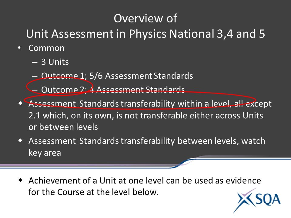 Overview of Unit Assessment in Physics National 3,4 and 5 Common – 3 Units – Outcome 1; 5/6 Assessment Standards – Outcome 2; 4 Assessment Standards  Assessment Standards transferability within a level, all except 2.1 which, on its own, is not transferable either across Units or between levels  Assessment Standards transferability between levels, watch key area  Achievement of a Unit at one level can be used as evidence for the Course at the level below.
