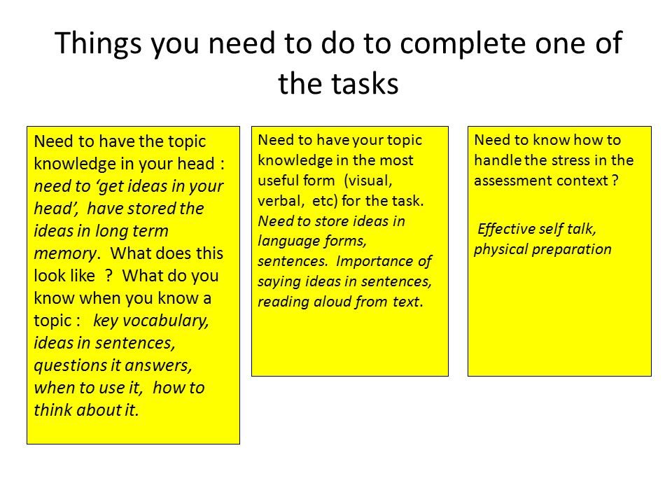 Things you need to do to complete one of the tasks Need to have the topic knowledge in your head : need to 'get ideas in your head', have stored the ideas in long term memory.