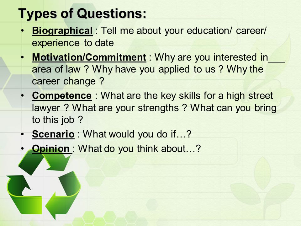 10 types - Why Have You Applied For This Job