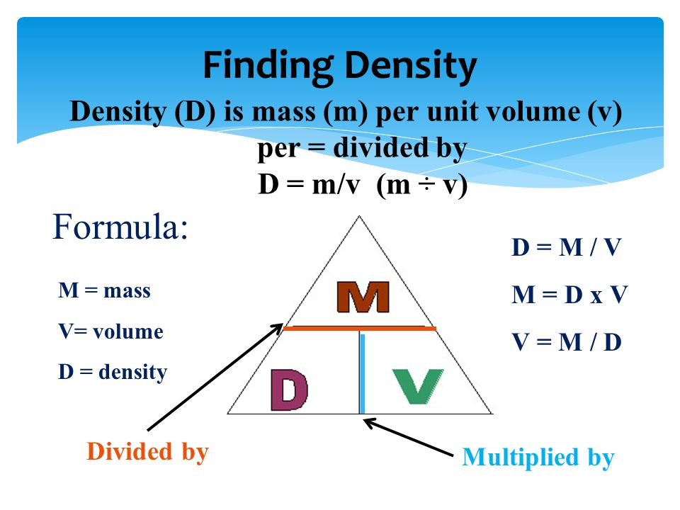 Finding Density Formula: M = mass V= volume D = density D = M / V M = D x V V = M / D Density (D) is mass (m) per unit volume (v) per = divided by D = m/v (m ÷ v) Divided by Multiplied by