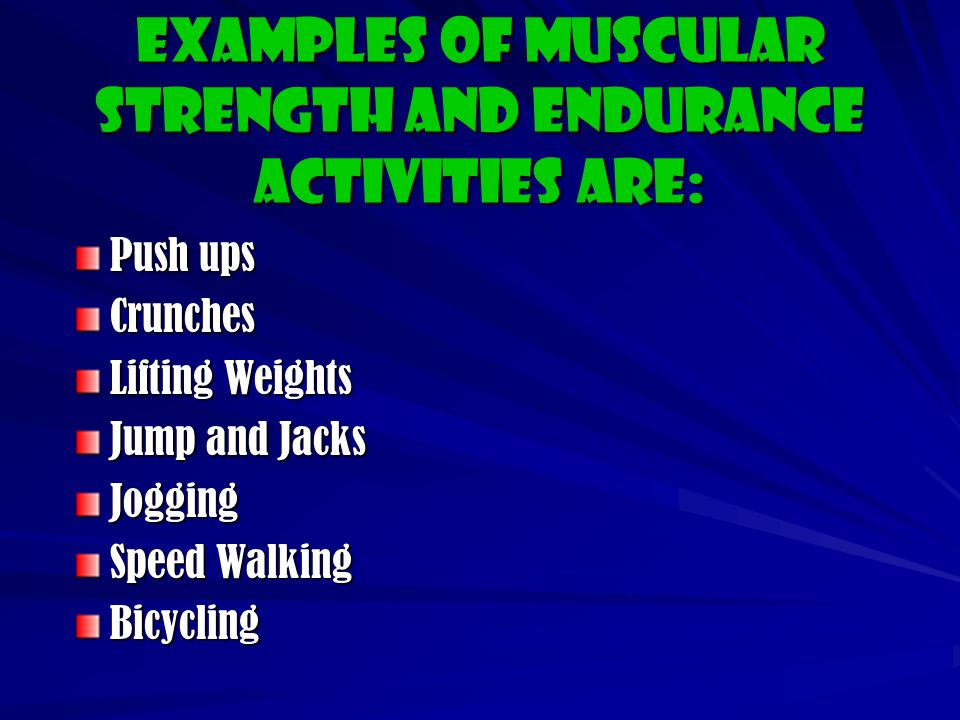 Muscular Endurance Muscular Endurance is the ability to use muscular strength over a set period of time.
