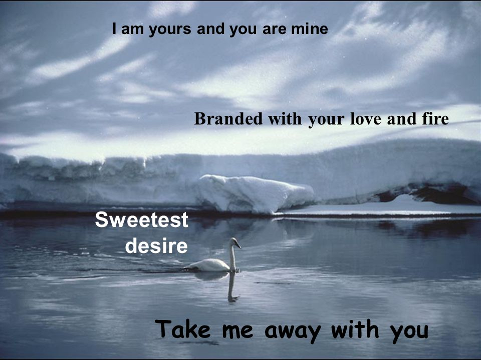 I am yours and you are mine Branded with your love and fire Sweetest desire Take me away with you