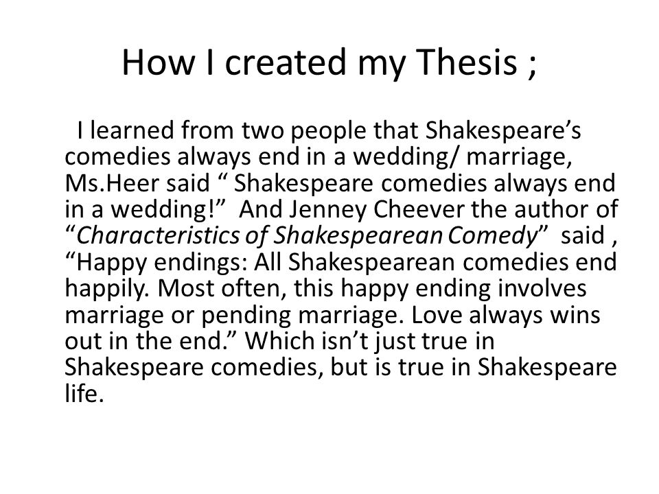 thesis statement for happy endings