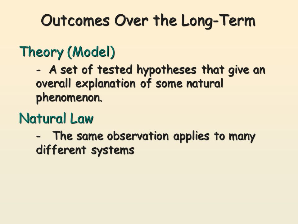 Outcomes Over the Long-Term Theory (Model) - A set of tested hypotheses that give an overall explanation of some natural phenomenon.