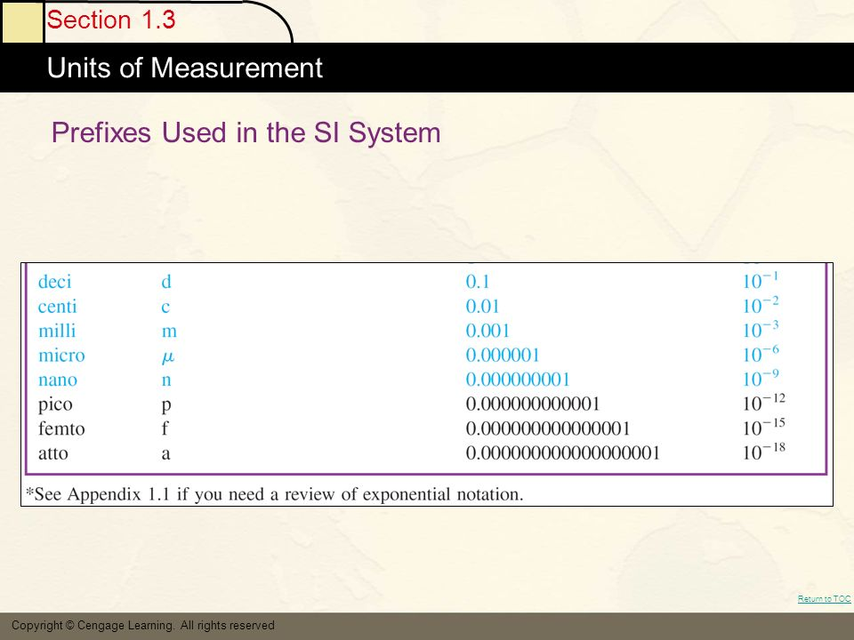 Section 1.3 Units of Measurement Return to TOC Copyright © Cengage Learning.
