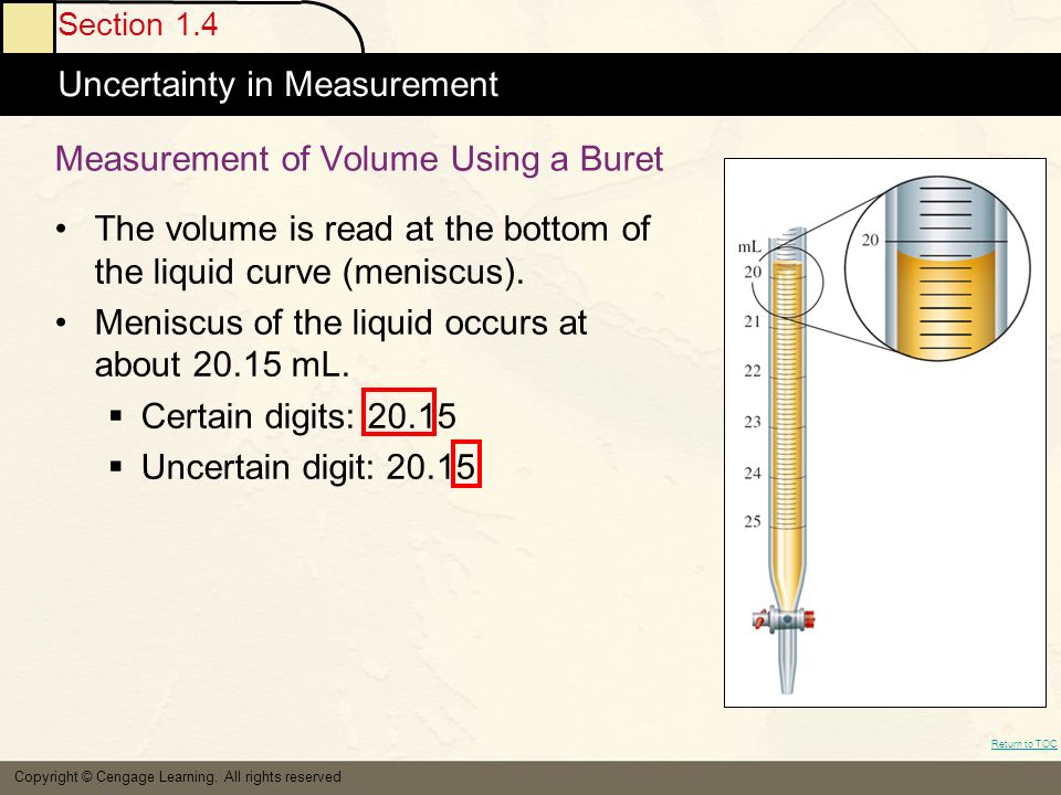 Section 1.4 Uncertainty in Measurement Return to TOC Copyright © Cengage Learning.