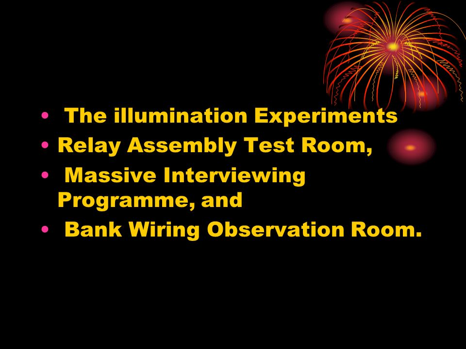 The illumination Experiments Relay Assembly Test Room, Massive Interviewing Programme, and Bank Wiring Observation Room.