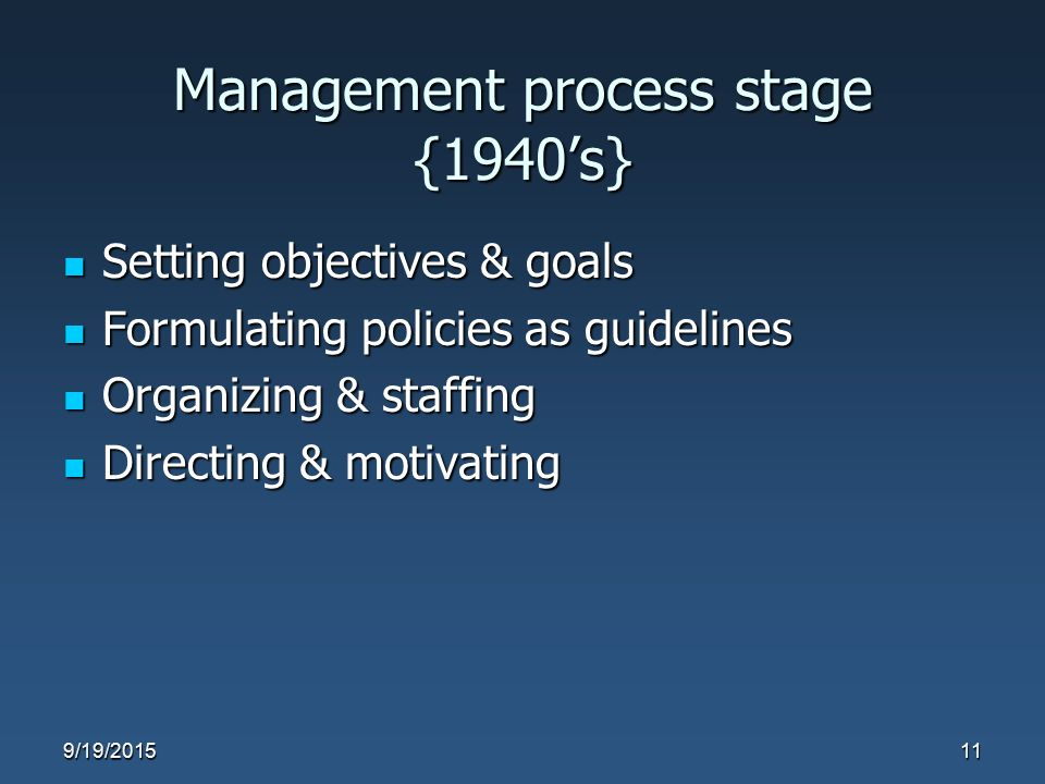 Management process stage {1940's} Setting objectives & goals Setting objectives & goals Formulating policies as guidelines Formulating policies as gui