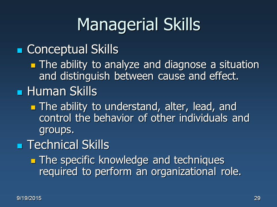Managerial Skills Conceptual Skills Conceptual Skills The ability to analyze and diagnose a situation and distinguish between cause and effect. The ab