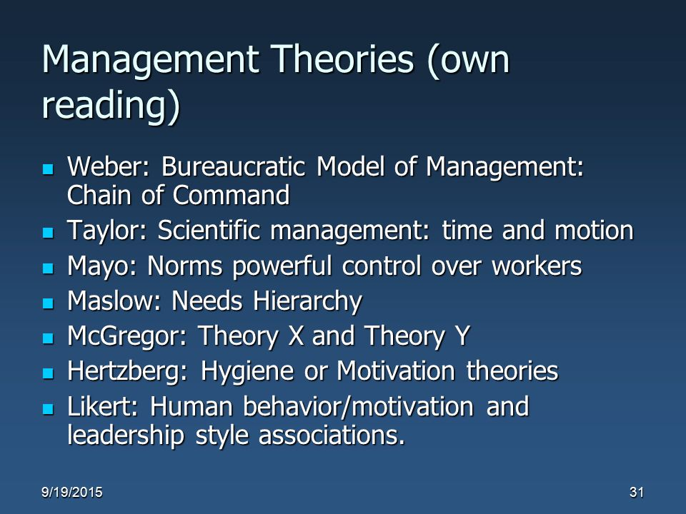 Management Theories (own reading) Weber: Bureaucratic Model of Management: Chain of Command Weber: Bureaucratic Model of Management: Chain of Command