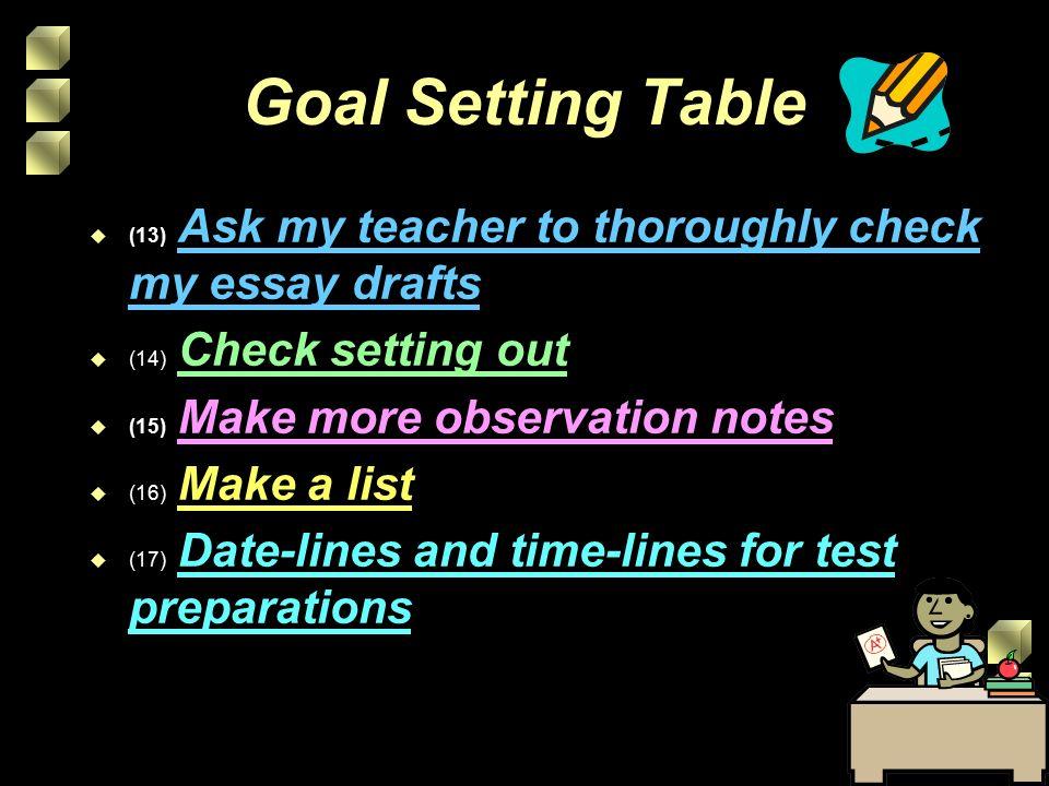 essay setting goals