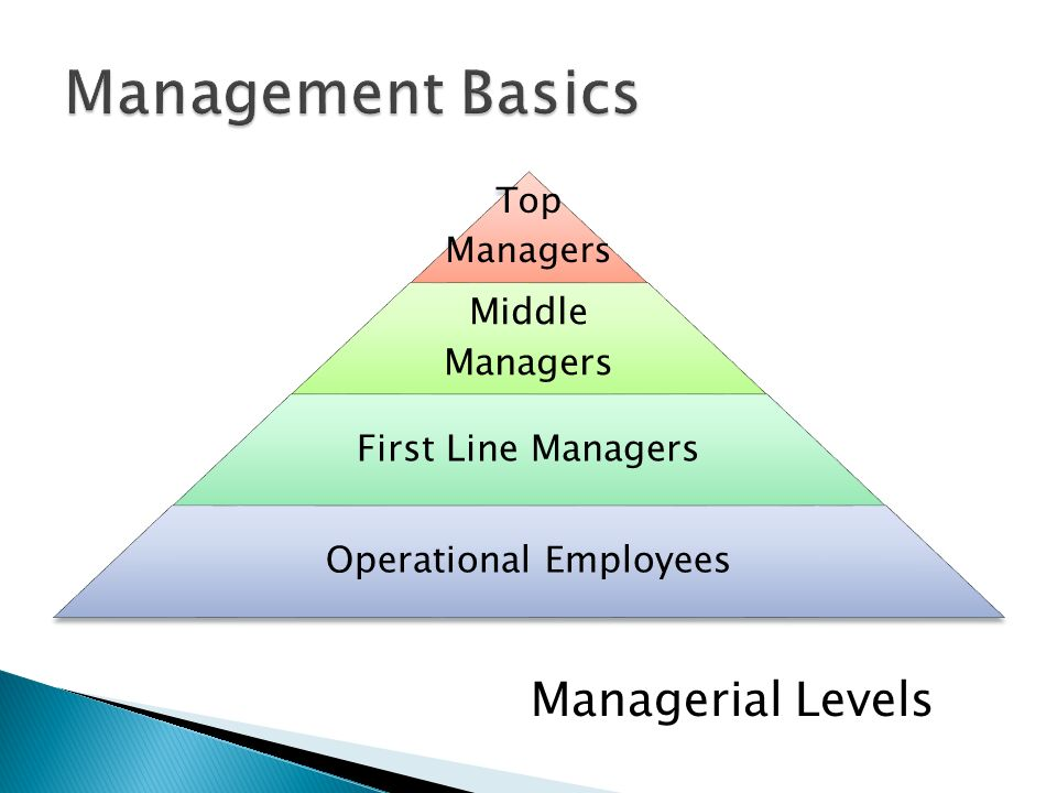 Top Managers Middle Managers First Line Managers Operational Employees Managerial Levels