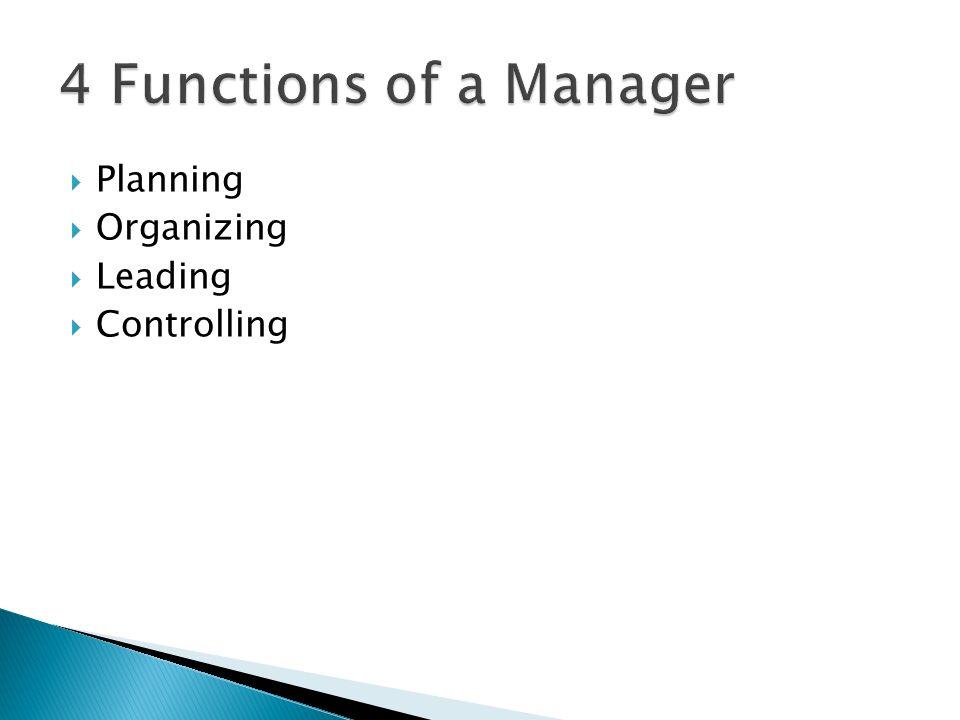  Planning  Organizing  Leading  Controlling