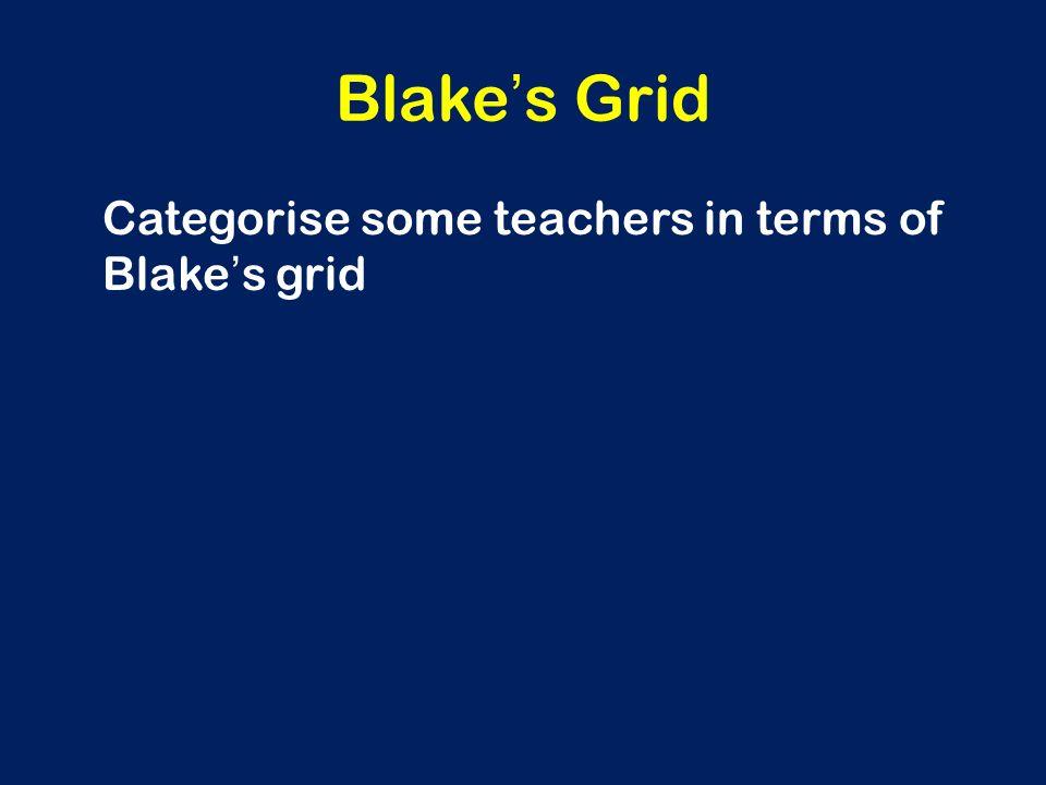Blake ' s Grid Categorise some teachers in terms of Blake ' s grid